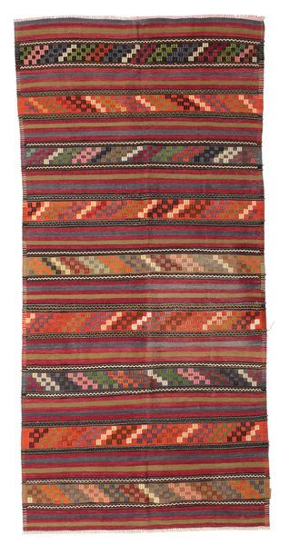 Kelim Semiantiikki Turkki Matto 153X320 Itämainen Käsinkudottu Tummanruskea/Tummanpunainen (Villa, Turkki)