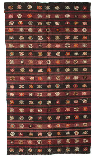 Kilim Semi Antique Turkish Rug 193X340 Authentic  Oriental Handwoven Dark Brown/Brown (Wool, Turkey)