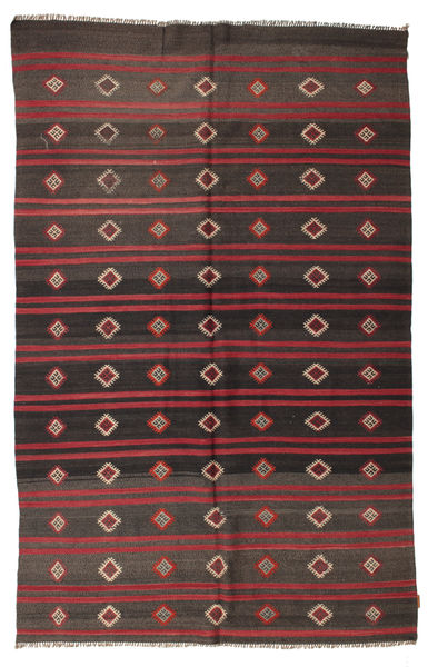 Kilim Semi Antique Turkish Rug 195X300 Authentic  Oriental Handwoven Dark Grey/Dark Brown (Wool, Turkey)