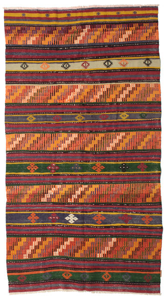 Kilim Pół -Antyk Tureckie Dywan 144X260 Orientalny Tkany Ręcznie Czarny/Pomarańczowy (Wełna, Turcja)