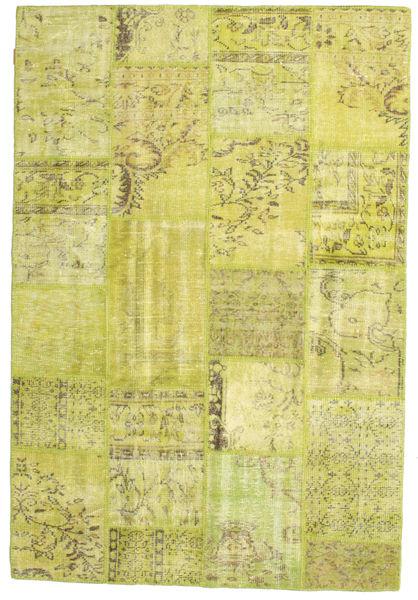 Patchwork Matto 157X233 Moderni Käsinsolmittu Keltainen/Oliivinvihreä (Villa, Turkki)