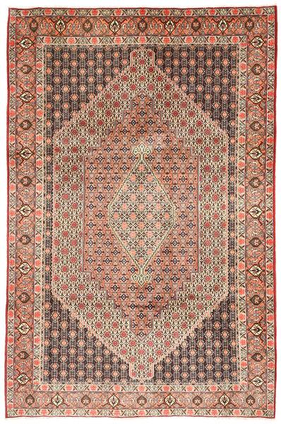 Senneh Matta 211X323 Äkta Orientalisk Handknuten Ljusbrun/Ljusrosa (Ull, Persien/Iran)