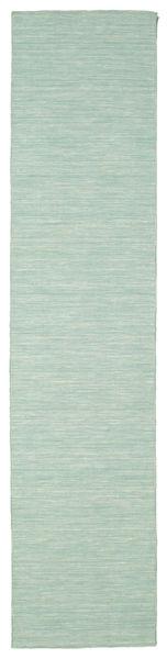 Kilim Loom - Mint Green Rug 80X350 Authentic  Modern Handwoven Hallway Runner  Turquoise Blue/Pastel Green (Wool, India)