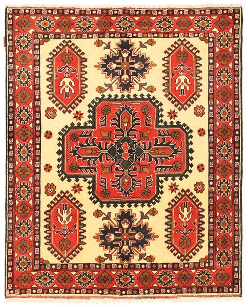 Kazak Matta 150X184 Äkta Orientalisk Handknuten Orange/Mörkbrun (Ull, Pakistan)