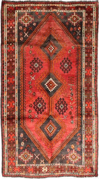 Qashqai Rug 155X278 Authentic  Oriental Handknotted Dark Brown/Rust Red (Wool, Persia/Iran)