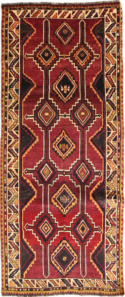 Ghashghai Matto 127X300 Itämainen Käsinsolmittu Käytävämatto Tummanpunainen/Musta (Villa, Persia/Iran)