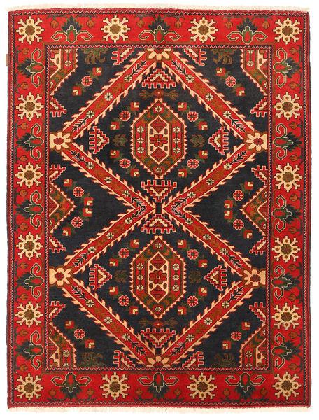 Kazak Matta 152X198 Äkta Orientalisk Handknuten Svart/Mörkröd (Ull, Pakistan)