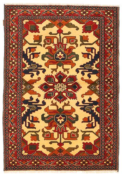 Kazak Matta 122X177 Äkta Orientalisk Handknuten Mörkbrun/Orange/Mörkröd (Ull, Pakistan)