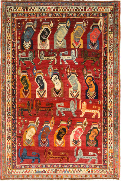 Qashqai Rug 160X237 Authentic  Oriental Handknotted Dark Red/Rust Red (Wool, Persia/Iran)