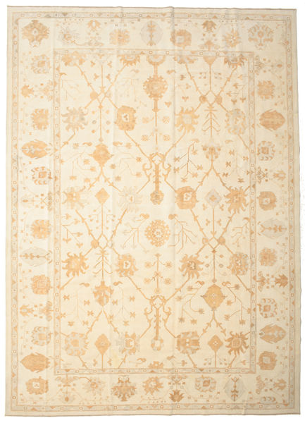 Usak Teppich  334X463 Echter Orientalischer Handgeknüpfter Beige Großer (Wolle, Türkei)