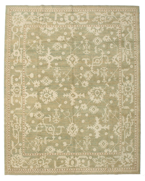 Oushak Rug 338X421 Authentic  Oriental Handknotted Olive Green/Dark Beige Large (Wool, Turkey)