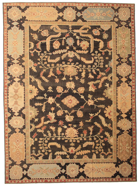 Oushak Rug 342X463 Authentic  Oriental Handknotted Dark Brown/Light Brown/Dark Beige Large (Wool, Turkey)