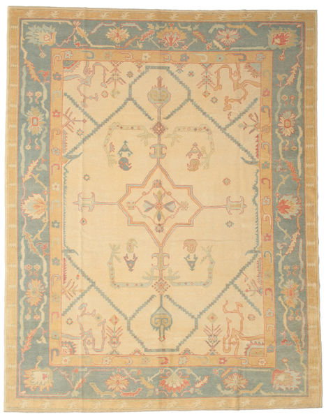 Oushak Rug 285X365 Authentic  Oriental Handknotted Dark Beige/Light Brown Large (Wool, Turkey)