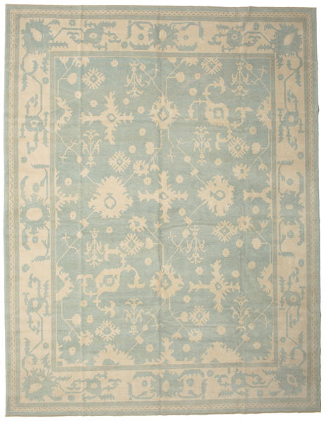 Oushak Rug 337X437 Authentic  Oriental Handknotted Light Grey/Pastel Green Large (Wool, Turkey)