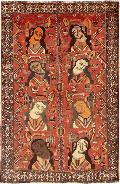 Ghashghai Teppich  123X191 Echter Orientalischer Handgeknüpfter Orange/Dunkelbraun (Wolle, Persien/Iran)