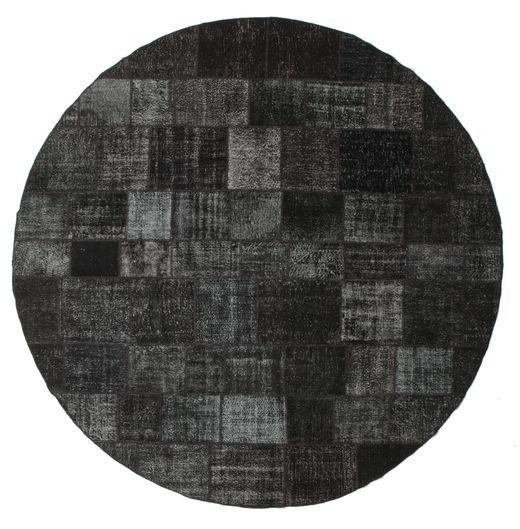 Patchwork Covor Ø 400 Modern Lucrat Manual Rotund Negru/Gri Închis Mare (Lână, Turcia)