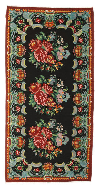 Rose Kelim Moldavia Rug 165X324 Authentic  Oriental Handwoven Black/Dark Red (Wool, Moldova)
