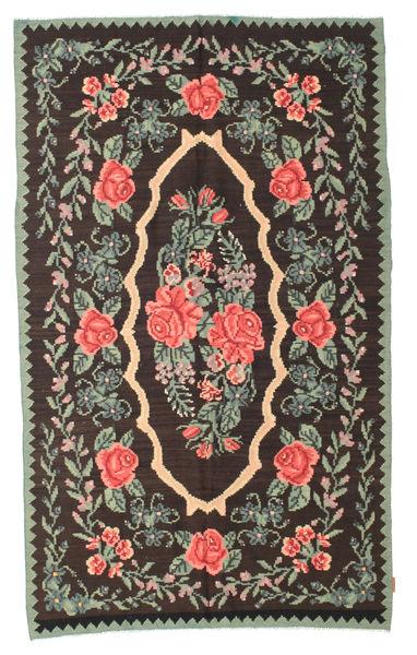 薔薇 キリム Moldavia 絨毯 154X258 オリエンタル 手織り 濃い茶色/濃いグレー (ウール, モルドバ)