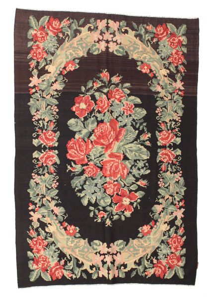 Rose Kelim Moldavia Rug 169X252 Authentic  Oriental Handwoven Black/Dark Beige (Wool, Moldova)