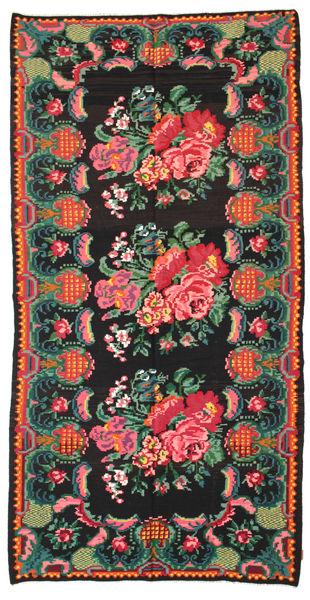 Rose Kelim Moldavia Rug 186X360 Authentic  Oriental Handwoven Black/Dark Green (Wool, Moldova)