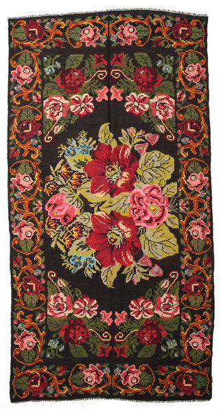 Rose Kelim Moldavia Rug 201X382 Authentic  Oriental Handwoven Black/Olive Green (Wool, Moldova)
