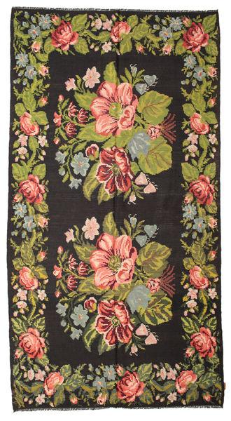 Rozenkelim Moldavia Vloerkleed 195X367 Echt Oosters Handgeweven Zwart/Olijfgroen (Wol, Moldavië)