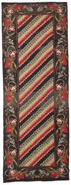 Rosenkelim Moldavia Matta 132X366 Äkta Orientalisk Handvävd Hallmatta Svart/Mörkgrå (Ull, Moldavien)