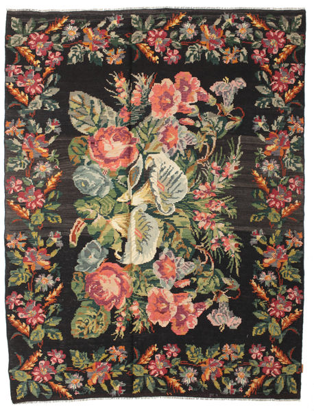 Rose Kelim Moldavia Rug 220X280 Authentic  Oriental Handwoven Black/Brown (Wool, Moldova)