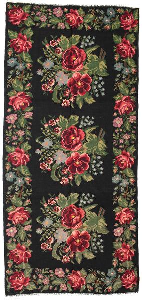 Rose Kelim Moldavia Rug 180X385 Authentic  Oriental Handwoven Black/Dark Green (Wool, Moldova)