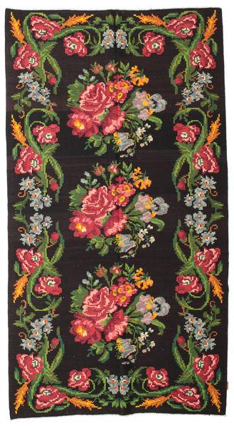 Rose Kelim Moldavia Rug 180X327 Authentic  Oriental Handwoven Dark Brown/Dark Green (Wool, Moldova)