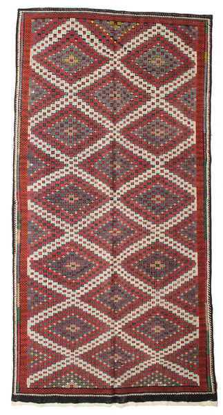 Kelim Semiantik Turkisk Matta 167X341 Äkta Orientalisk Handvävd Mörkröd/Mörkgrå (Ull, Turkiet)