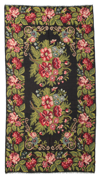 Rose Kelim Moldavia Rug 192X362 Authentic  Oriental Handwoven Black/Dark Brown (Wool, Moldova)