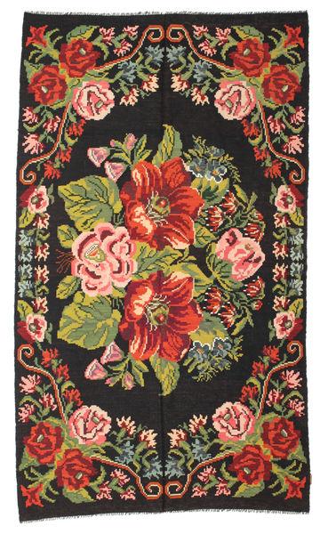 Rose Kelim Moldavia Rug 188X328 Authentic  Oriental Handwoven Black (Wool, Moldova)