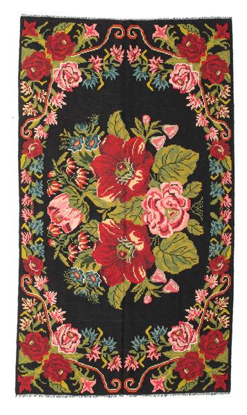 Rosenkelim Moldavia Matta 171X308 Äkta Orientalisk Handvävd Svart/Olivgrön (Ull, Moldavien)