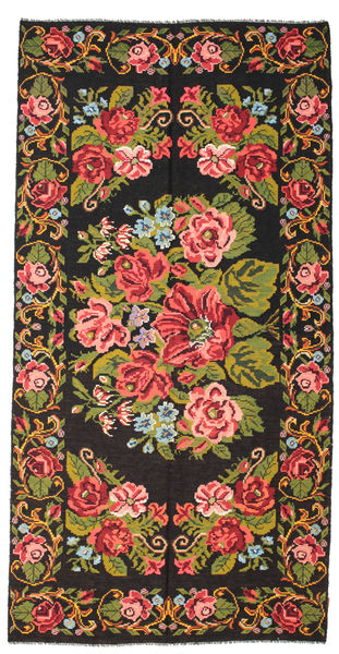 Rose Kelim Moldavia Rug 198X400 Authentic  Oriental Handwoven Black/Rust Red (Wool, Moldova)