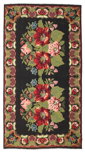 Rose Kelim Moldavia Rug 216X410 Authentic  Oriental Handwoven Black/Dark Red (Wool, Moldova)