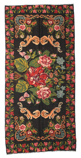 Rose Kelim Moldavia Rug 159X344 Authentic  Oriental Handwoven Hallway Runner  Black/Rust Red (Wool, Moldova)