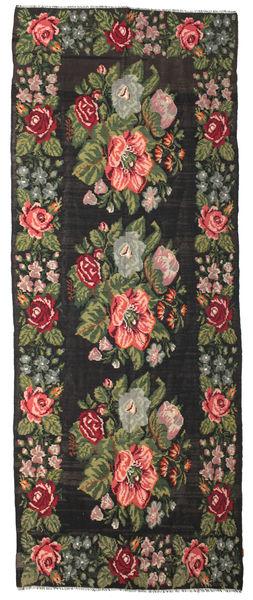 Kilim Rose Moldavia Dywan 180X462 Orientalny Tkany Ręcznie Chodnik Czarny/Zielony/Oliwkowy (Wełna, Mołdawia)