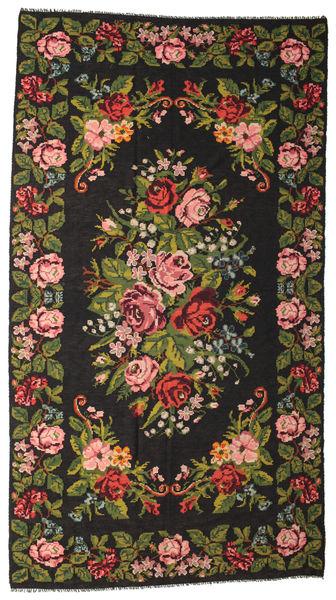 Ruusukelim Moldavia Matto 210X390 Itämainen Käsinkudottu Musta/Tummanruskea (Villa, Moldova)