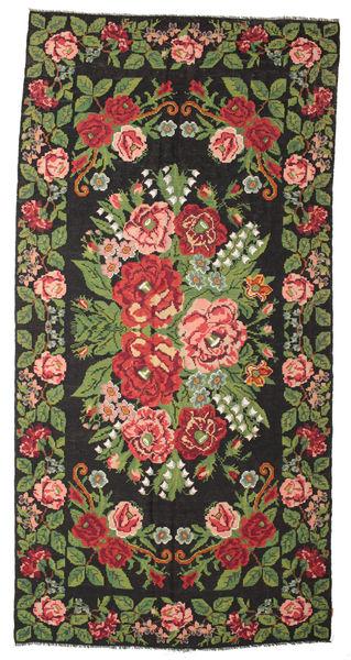 Rose Kelim Moldavia Rug 224X454 Authentic  Oriental Handwoven Black/Olive Green (Wool, Moldova)