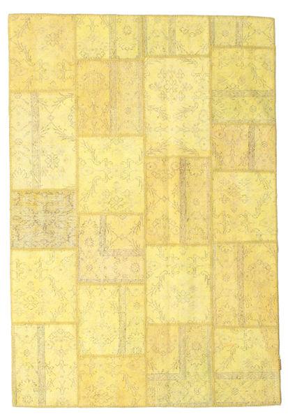 Patchwork Matto 158X236 Moderni Käsinsolmittu Keltainen/Tummanbeige (Villa, Turkki)