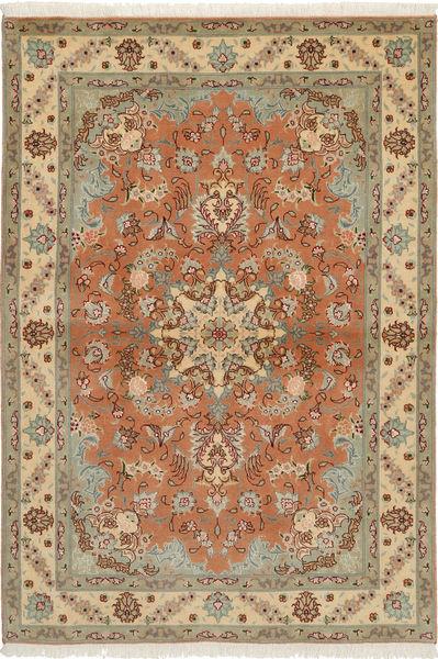 Tabriz 50 Raj Com Seda Tapete 103X150 Oriental Feito A Mão Castanho Claro/Castanho (Lã/Seda, Pérsia/Irão)
