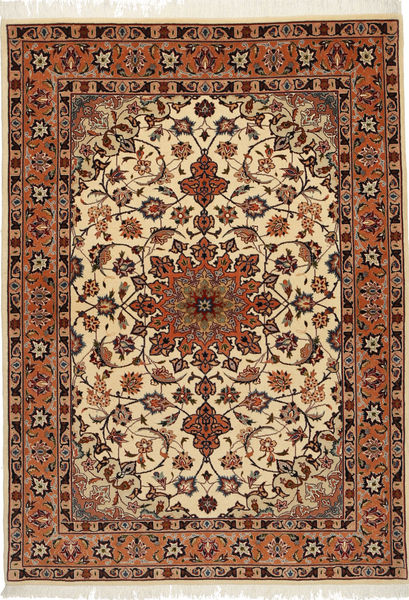 Tabriz 50 Raj Silkillä Matto 106X150 Itämainen Käsinsolmittu Vaaleanruskea/Tummanpunainen (Villa/Silkki, Persia/Iran)