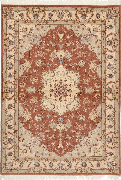 Tabriz 50 Raj Med Silke Matta 105X150 Äkta Orientalisk Handknuten Ljusbrun/Brun (Ull/Silke, Persien/Iran)
