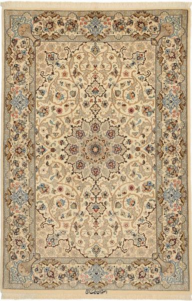 Isfahan Silkerenning Signert: Keiyani Teppe 110X160 Ekte Orientalsk Håndknyttet Lysbrun/Mørk Beige (Ull/Silke, Persia/Iran)