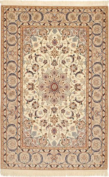 Ispahan Chaîne De Soie Tapis 110X173 D'orient Fait Main Marron Clair/Beige/Marron (Laine/Soie, Perse/Iran)