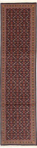 Tabriz 50 Raj Med Silke Matta 75X300 Äkta Orientalisk Handknuten Hallmatta Mörkröd/Svart (Ull/Silke, Persien/Iran)