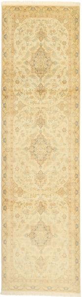 Tabriz 50 Raj Med Silke Matta 83X303 Äkta Orientalisk Handknuten Hallmatta Beige/Gul/Mörkbeige (Ull/Silke, Persien/Iran)