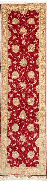 Tabriz 50 Raj Med Silke Matta 79X312 Äkta Orientalisk Handknuten Hallmatta Röd/Mörkbeige (Ull/Silke, Persien/Iran)