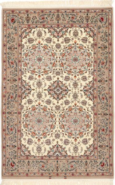 Isfahan Silkerenning Teppe 108X165 Ekte Orientalsk Håndknyttet Mørk Brun/Brun (Ull/Silke, Persia/Iran)